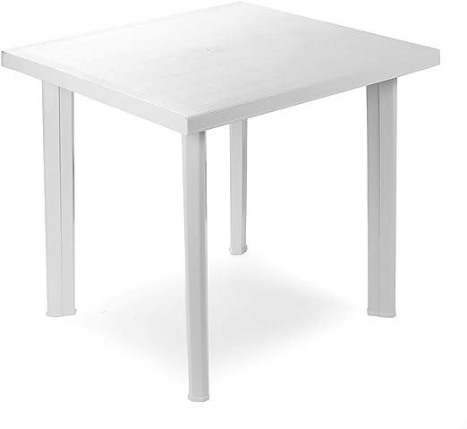 Mojawo - Mesa de plástico bristro, 80 x 75 cm Fiocco Blanco ...