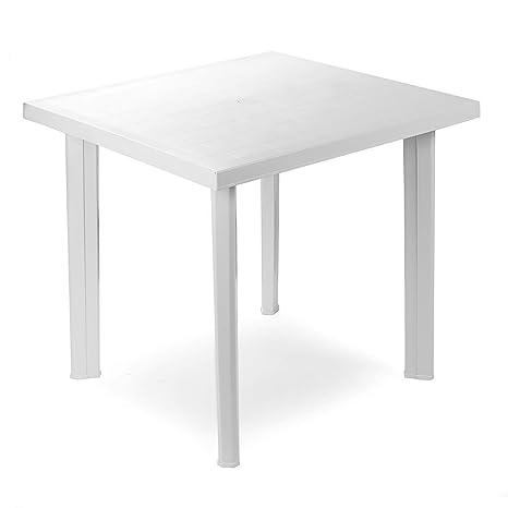 Tavolo In Pvc Da Giardino.Bistro Tavolo In Plastica 80 X 75 Cm Fiocco Bianco Rettangolare