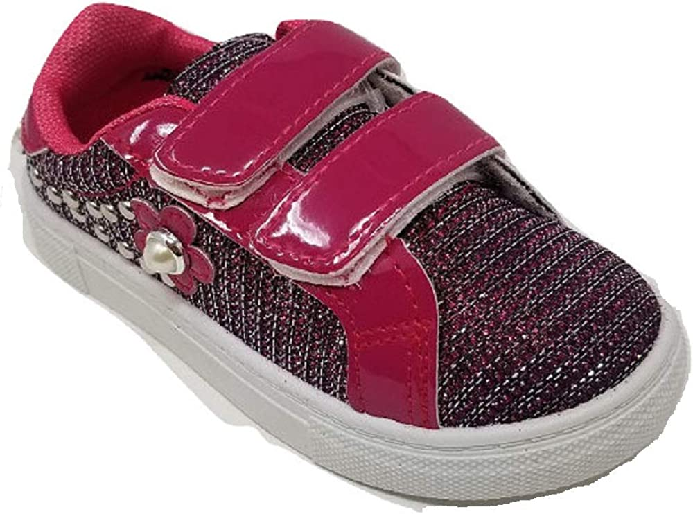 Ameta Girls Double Strap Bling Tennis Shoes Sneakers S-53 Toddler//Little Kid
