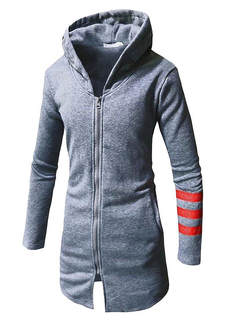 Fllay Mens Zip Hooded Elong Stylish Hoodies Sweatshirt Jackets