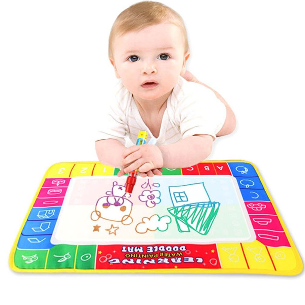 Gbell Toddler Baby Color Learning Toys, Aqua Magic Doodle Mat Water Drawing Mat Painting Broad Toy with Magic Pen 29x16CM (Multicolor)