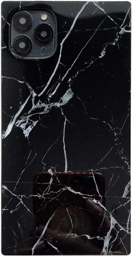 Square Marble Phone case for iPhone 11 Pro Max TPU Soft Shockproof Simple Retro Back Cover Shell Casing (Black Marble, iPhone 11 Pro Max)