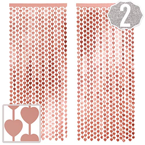 xo, Fetti Rose Gold Heart Foil Curtain - 2 Pcs, 3 ft x 8 ft | Metallic Fringe Tinsel Curtain, Photobooth Prop, Bachelorette Backdrop, Birthday Decoration, Wedding, Engagement, Bridal Shower, Baby Show
