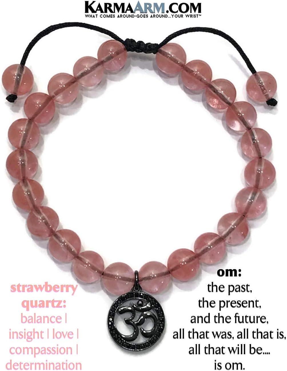 Reiki Chakra Yoga Zen Meditation Jewelry Natural Silver Hematite Gemstone KarmaArm Confidence CZ Diamond Pave Barrel