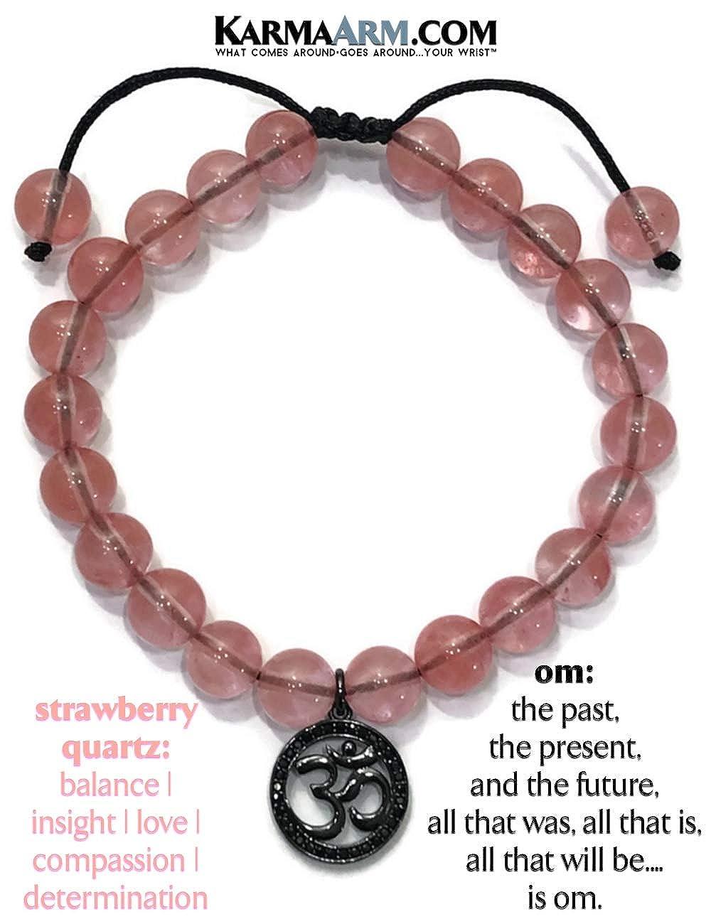 Gratitude Natural Strawberry Quartz Charm Bracelet Beaded Meditation Spiritual Stretch Mantra Reiki Healing Energy Boho Chakra Wrap Yoga Buddhist Jewelry /& Gemstone Gifts KarmaArm OM Bracelet