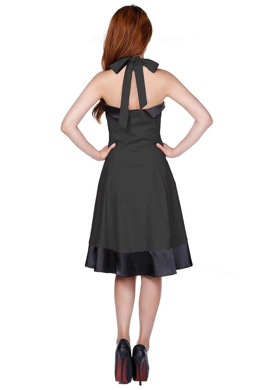Amazon.com: 50s Flare Black Satin Sailor Collar Tall Halterneck Flattering Swing Dress 8-28: Clothing