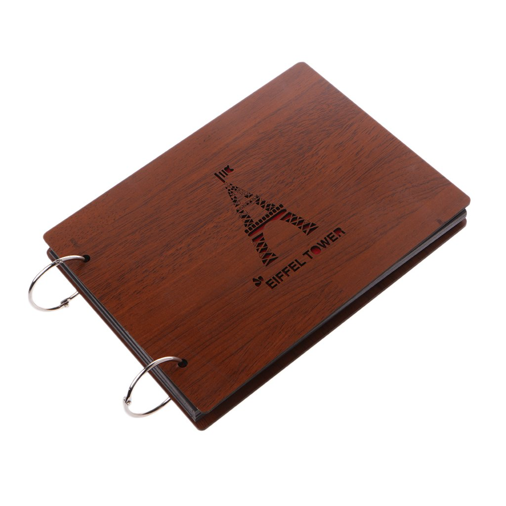 Richi 8 Inch Eiffel Wooden Crafts Albums Red Loose-leaf Glued Baby Lovers Photo Album