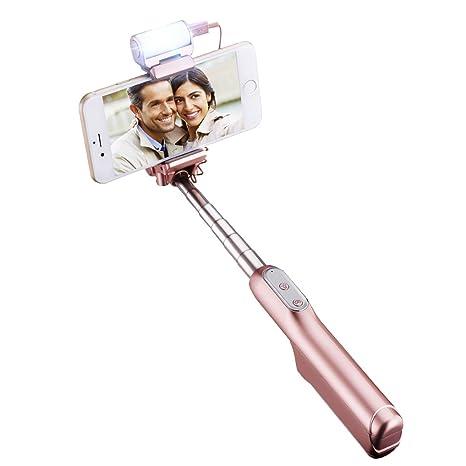592f247065b Mpow Palo Selfie Bluetooth con Flash Led Selfie Sticks Cabeza Ajustable de  270° Portátil y