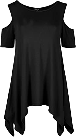 Womens Hanky Hem Jersey Tunic And Necklace Black//Steel