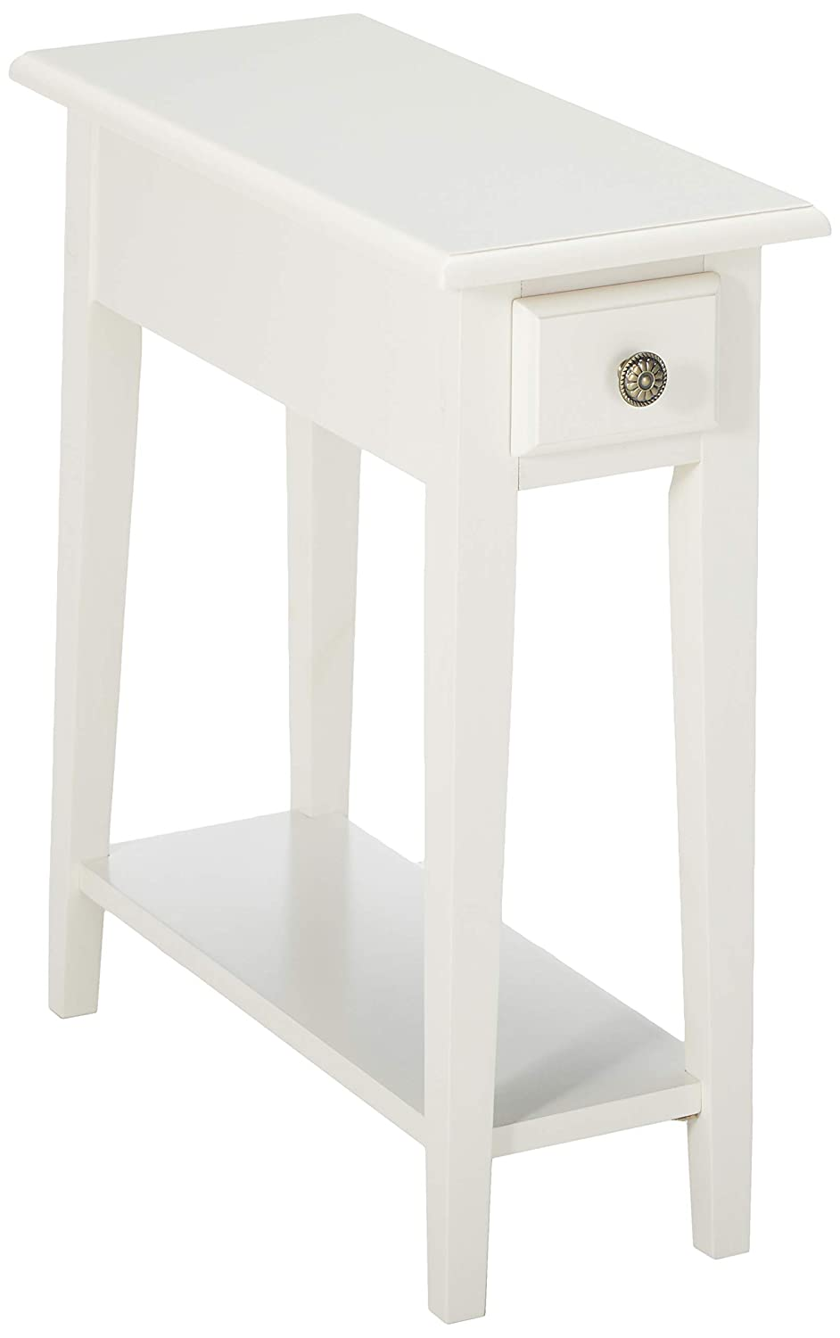 Frenchi Home Furnishing Chair Side Table with Storage, Queen, White