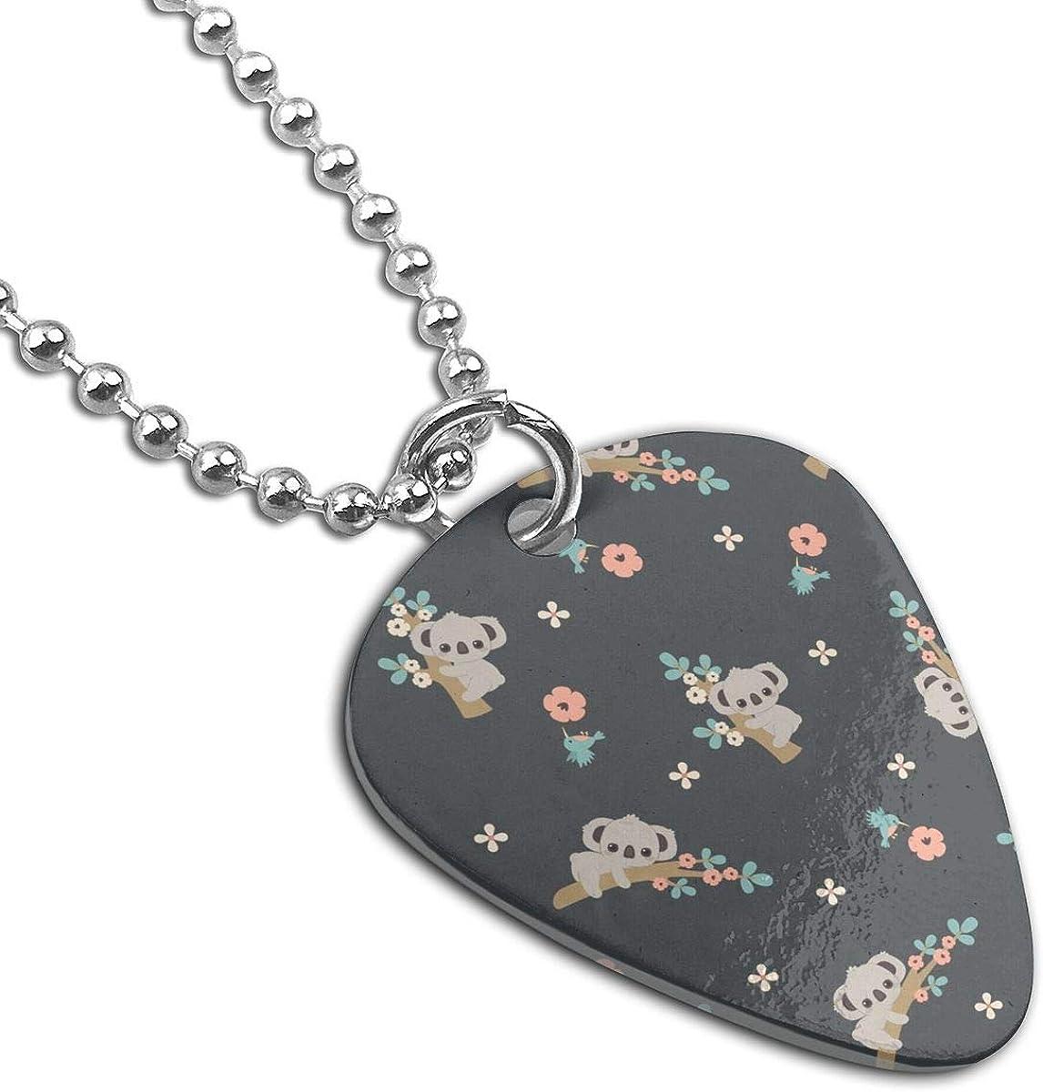 Cartoon Koala Floral Custom Guitar Pick Pendant Necklace Keychain