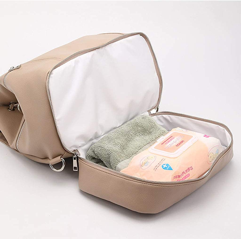 Museourstyty Diaper Bag PU Leather Nappy Handbag Large Capacity Baby Travel Backpack Changing Bag