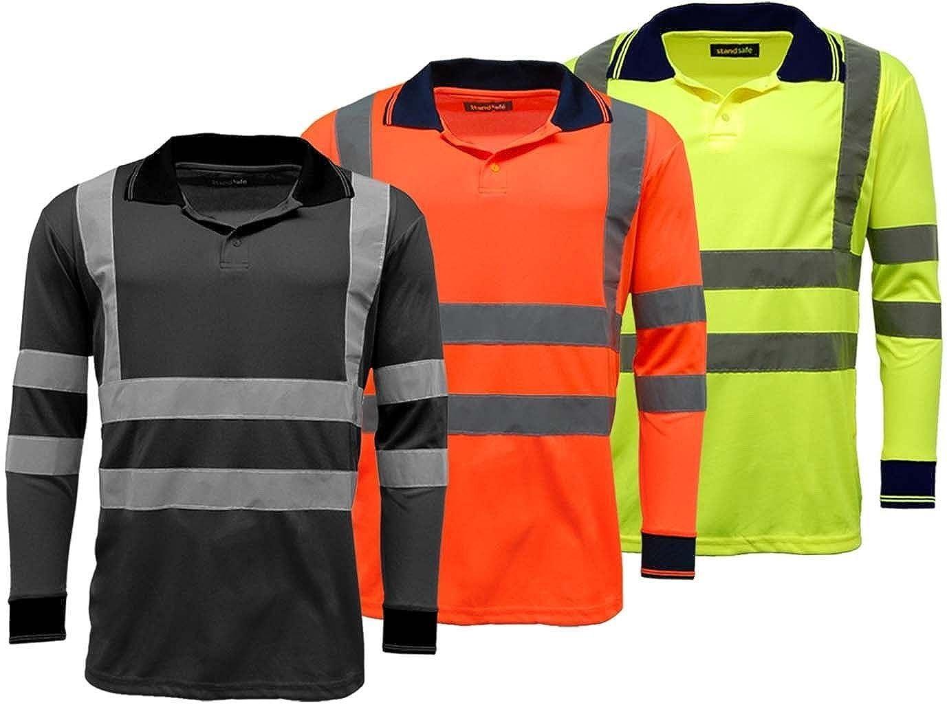 Amazon Mens Polo Shirts Hi Vis High Viz Visibility Long Sleeve