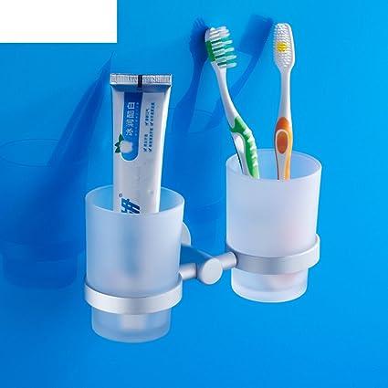 Espacio cepillo de dientes titular de aluminio/ Portacepillos vaso/ traje de soporte del vaso