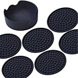 Coasters For Drinks - Large Silicone Design Protect Furniture By Deep Tray That Catches Cold Sweat, Fit Most Sizes of Cups or Bar Accessories, Set of 6 Non-slip Coaster With Holder In Eco Packaging