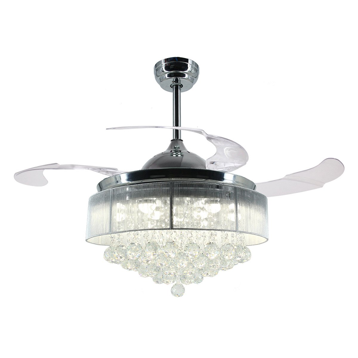 Parrot Uncle Ceiling Fans with Lights 42'' Modern LED Ceiling Fan Retractable Blades Crystal Chandelier Fan with Remote Control, 4000K Cool White, Not Dimmable, Chrome Finished