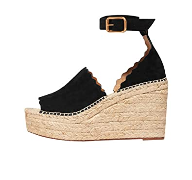 2284c5feb3a Fashare Womens Open Toe Scalloped Espadrille Platform Wedges Sandals Buckle Ankle  Strap Shoes
