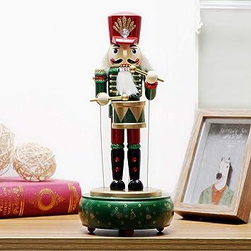 YTYRTIK Caja de música de Madera Cascanueces Marioneta Decoración de Escritorio Adornos navideños Dibujar Nogal Soldado Drum Doll, A: Amazon.es: Hogar