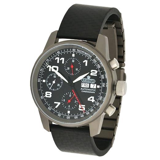 Aristo Unisex reloj cronógrafo automático de titanio de carbono 5H99 ETA 7750 movimiento hizo suizo: Amazon.es: Relojes