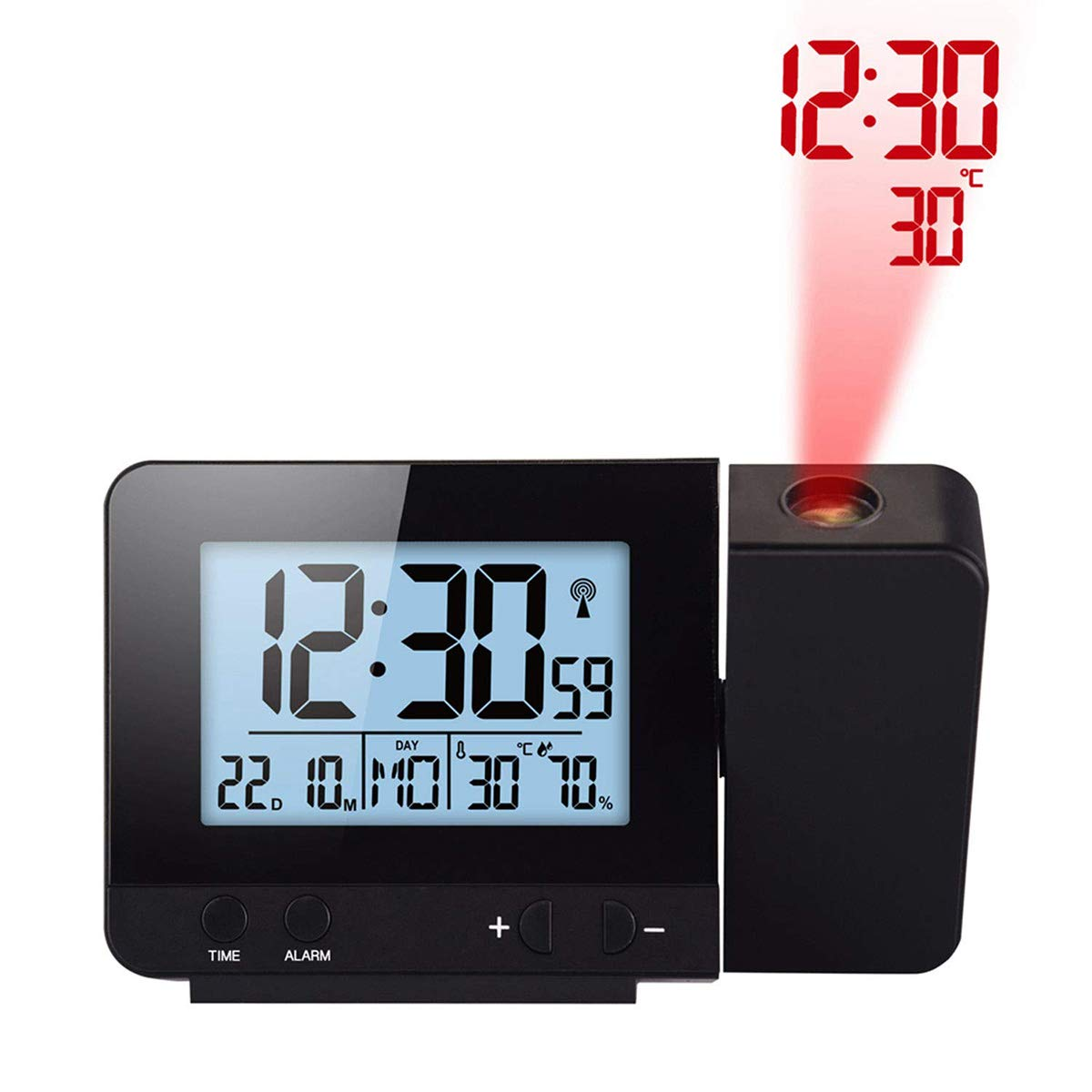 Uhruolo Digital Projection Clock, 180 Degree Adjustable Projection 4 Backlights with USB Charging Port, LCD Display Date Time Temperature Humidity, 12/24 Hours, 2 Snooze Clocks,Black by Uhruolo