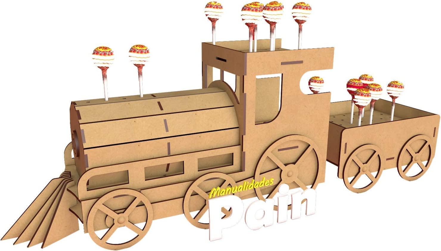 Kit para hacer tren porta chupetines/chupachups de madera DM para ...