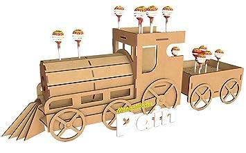 Kit para hacer tren porta chupetines/chupachups de madera DM para candy bar mesa dulce. Medidas: 80cm x 27cm. Cumpleaños, bodas, comuniones, bautizos.
