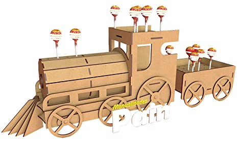 Kit para hacer tren porta chupetines/chupachups de madera DM para candy bar mesa dulce