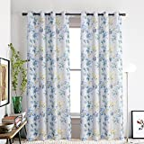 Blue Flower Curtains Grommet Top-Anady 2 Panel Watercolor Modern Country Window Curtains Design Drapes for Bedroom Living Room 42W 84L Curtains Grommet(Customized Available)