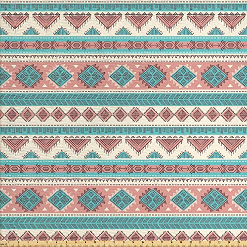 Ambesonne Tribal Fabric by The Yard, African Vintage Design Native Ethnic Style Artsy Geometric Triangles Print, Decorative Fabric for Upholstery and Home Accents, 1 Yard, Cream Aqua and Peach