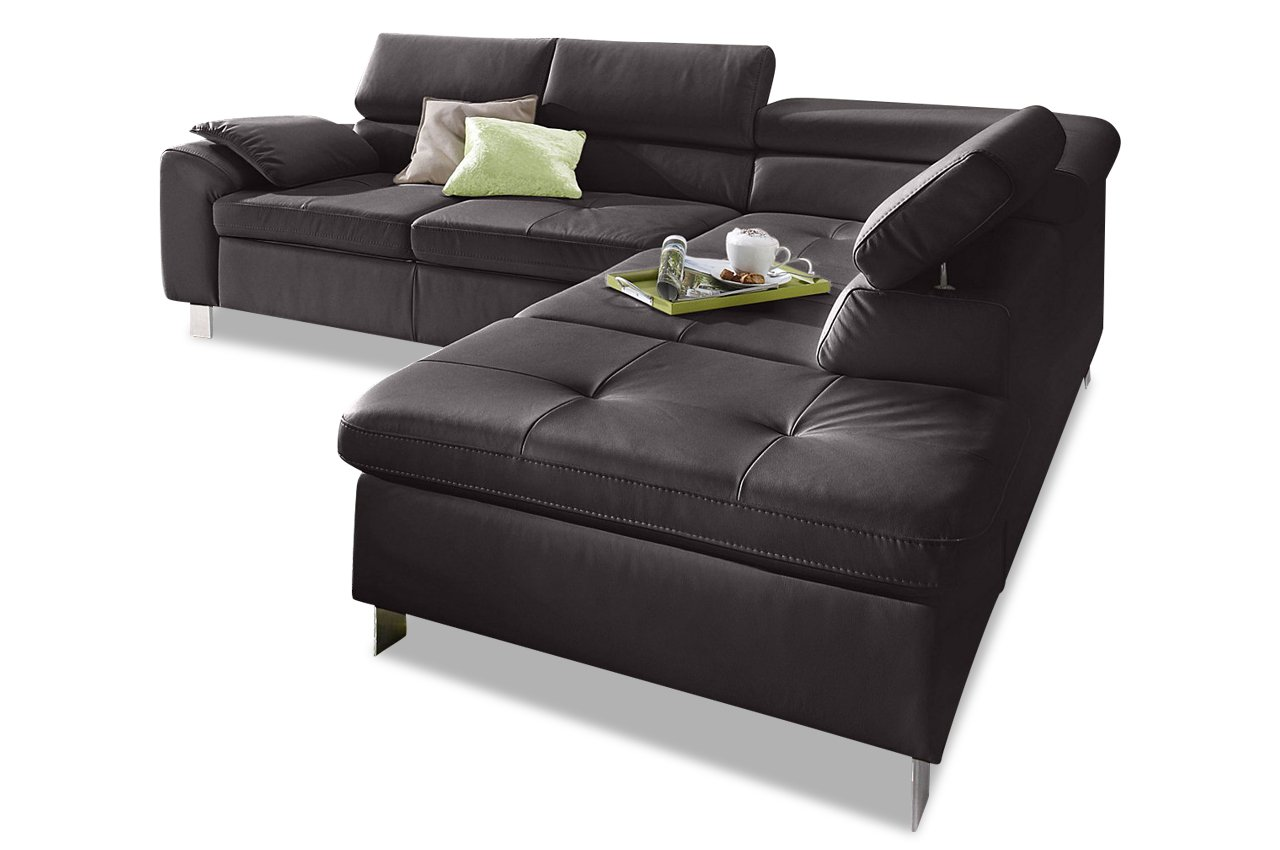 sofa leder ecksofa xl hit mit schlaffunktion braun. Black Bedroom Furniture Sets. Home Design Ideas