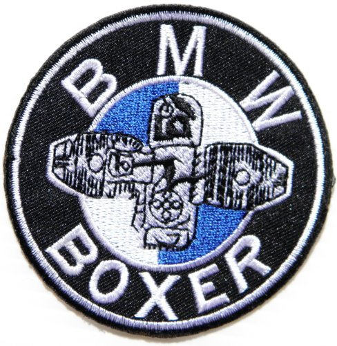 BMW BOXER MOTORRAD Motorcycle Logo Sign Biker Racer Patch Iron on Applique Embroidered T shirt Jacket Custom Gift BY SURAPAN (Sleeve Shop Horns Apparel Long)