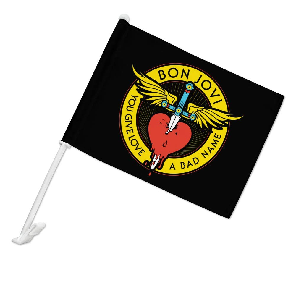 GRAPHICS /& MORE Bon Jovi You Give Love a Bad Name Car Truck Flag with Window Clip On Pole Holder