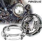 7 inch round headlight housings - 1 pc x Firebug 7 Inch Round Headlight Housing, Harley Mounting Bracket, Jeep Headlight Mounting Ring, Chrome
