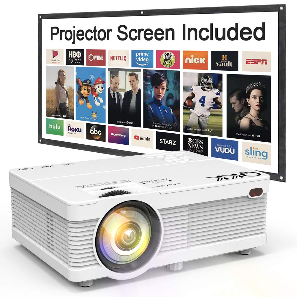 QKK Portable LCD Projector 2800 Brightness [100'' Projector Screen Included] Full HD 1080P Supported, Compatible with Smartphone, TV Stick, Games, HDMI, AV, Indoor & Outdoor Projector for Home Theater