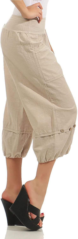ZARMEXX Femmes Pantalon Capri en Lin Pantalon d/ét/é Plaine Knickerbocker Basics Pantalon Bermuda