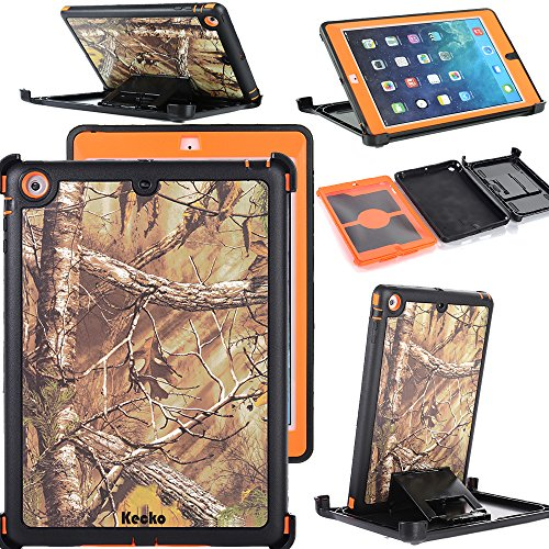ipad Air/5 Case,KeckoDefender Hunting Tree Camo Shockproof Outdoor Sports Drop Proof Military Grade Full Body Protective Built-in Screen Protector Rugged Case w/ Kickstand for ipad Air/5th Gen (X/O) (Xo Tablet Case)