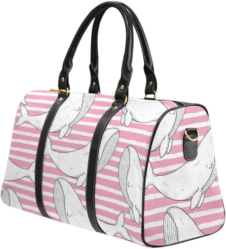 InterestPrint Smiling Colorful Whales on Striped Background Carry-on Garment Bag Travel Bag Duffel Bag Weekend Bag