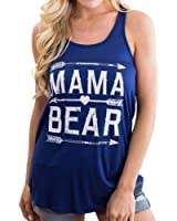 Women Fashion MAMA BEAR Letters Arrow Print Vest T Shirt Summer Casual Top Tees
