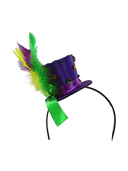 Amazon.com  Mini Satin Mardi Gras Top Hat with Feathers and Jewels Womens  Costume Accessory  Clothing 7688dfd48751