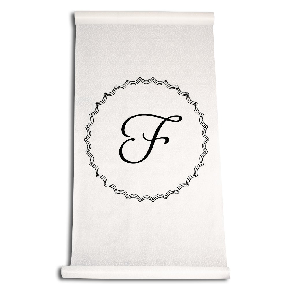 Ivy Lane Design Wedding Accessories Aisle Runner with Initial, Letter F, Black