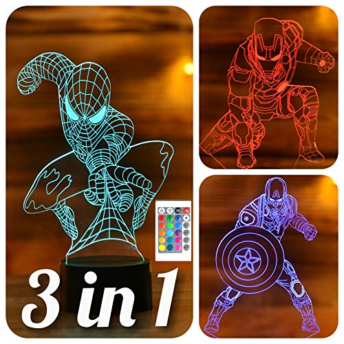 Serkyhome 3 in 1-3D Night Lights For Kids 7 Colors-3D LED Illusion Lamp With Remote Control-Bedroom Table Lamp-Spiderman-Captain America-Ironman-(Avengers 3 in1)