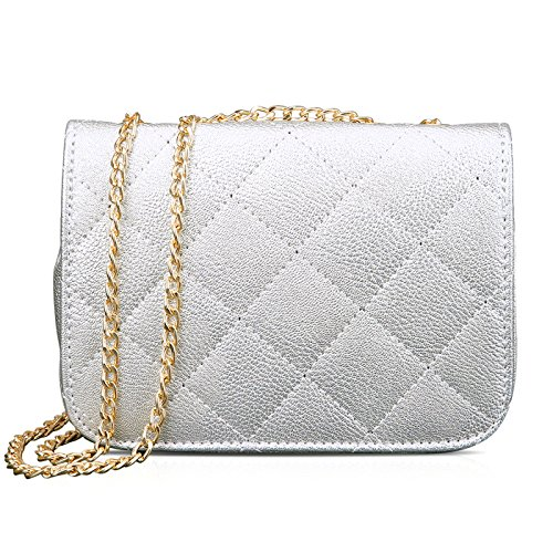 HDE Women's Small Crossbody Handbag Purse Bag with Chain Shoulder Strap (Silver) by HDE (Image #2)