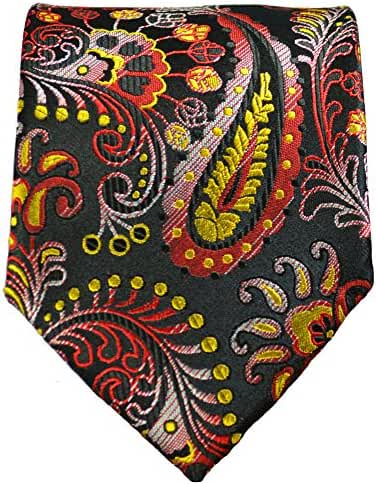 Yellow, Red and Black Paisley Necktie by Paul Malone 100% Silk