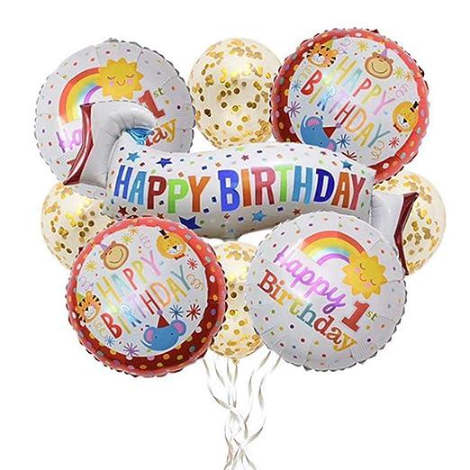 Xinlie 9 Piezas Feliz Cumpleaños Banner 1er Cumpleaños ...