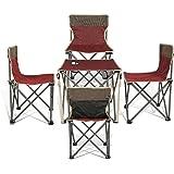 Super Convenient Kids Set Camping Bundle Contains 4 units Quad Chairs + 1 unit Table by J&D Outdoor Depot (Red)