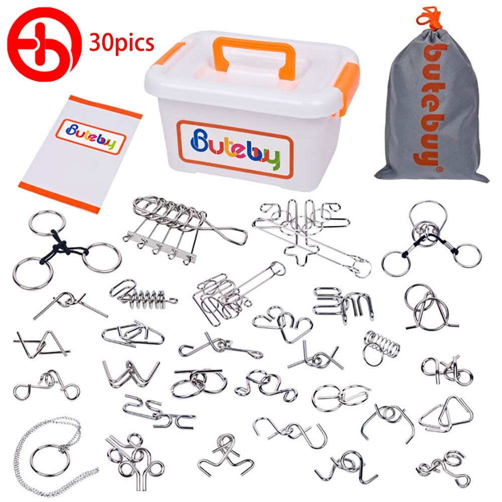 1 Set 30Pcs Advanced Metal Brain Puzzles Teasers for Kids Adults Higher Level Challenge for Party Games, Office Toys, Parent-Children Games. by DGte
