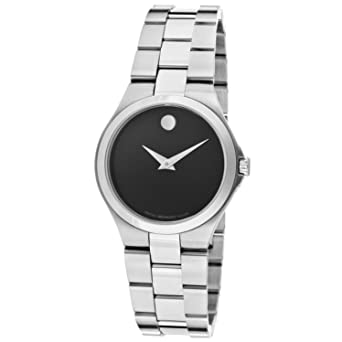 Stainless Steel Case and Bracelet Black Dial Signature Movado Dot