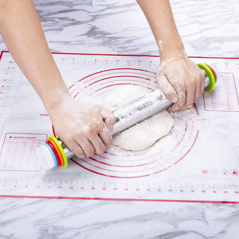 Adjustable Rolling Pins for Baking with Thickness Rings and FREE Pastry Mat Dough Roller for Bakery Dough Pizza Pie Chapati Fondant Crust Pasta, 17 inch STAINLESS STEEL ROLLER PIN BAKING by RkhanCorp (Image #2)