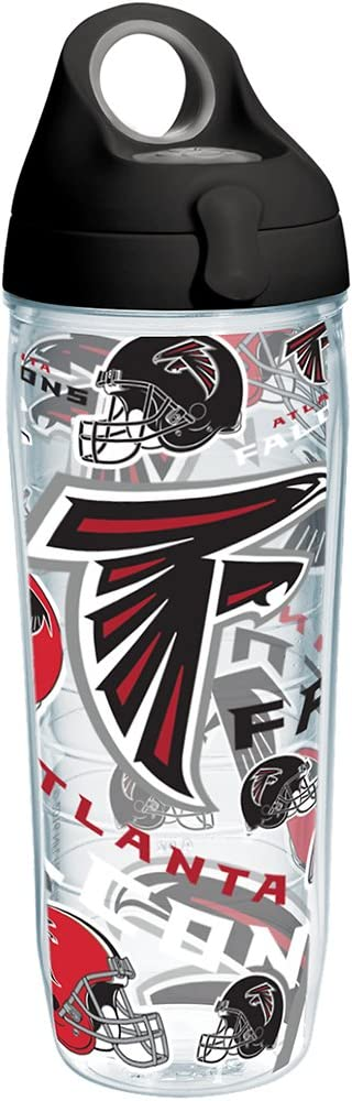 Tervis 1247916 NFL Atlanta Falcons All Over Tumbler with Wrap and Black with Gray Lid 24oz Water Bottle, Clear