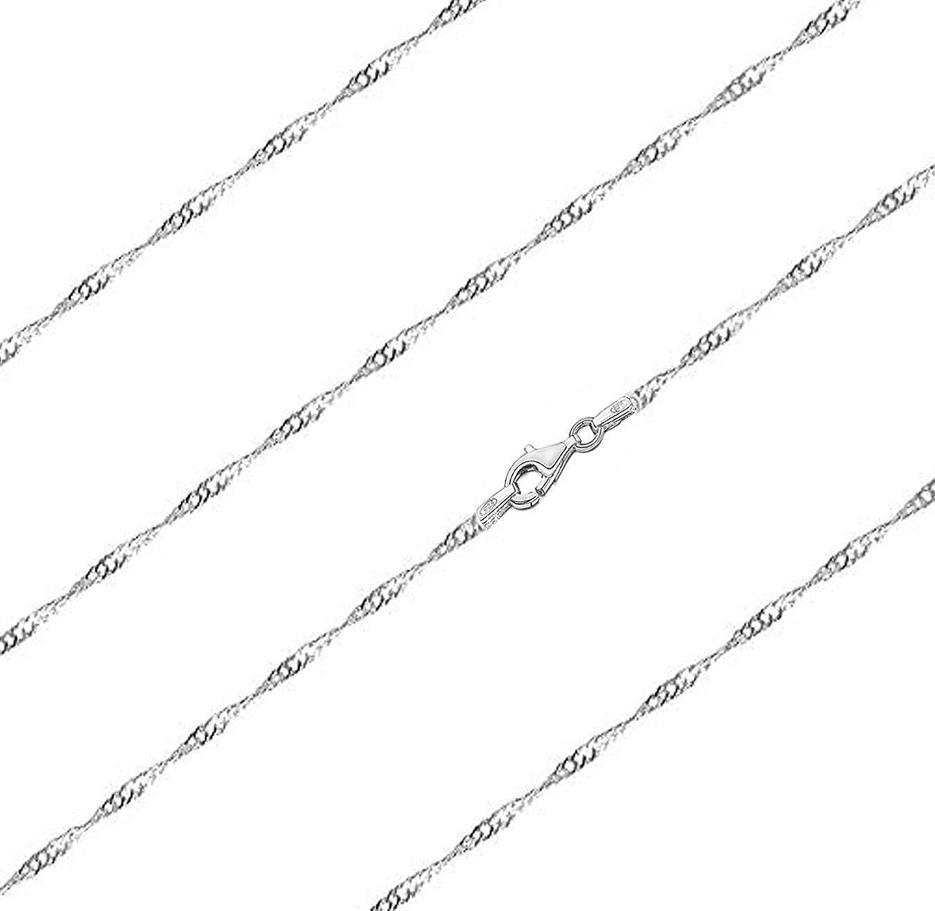 Panzerkette 1,5 mm breit Verschiedene L/ängen 40 45 50 55 65cm Damen-Halskette 925//000 Sterlingsilber Schlangenkette Singapurkette 925 Silber Halskette gedreht